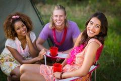 Amis souriant en parc Image libre de droits