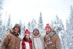 Amis sous des chutes de neige Photos stock