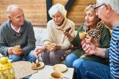 Amis supérieurs appréciant le temps de thé en café Image libre de droits
