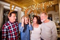 Amis supérieurs avec des bandeaux d'andouillers de cerfs communs au temps de Noël Photographie stock libre de droits