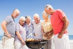 Amis supérieurs ayant un barbecue Photos libres de droits
