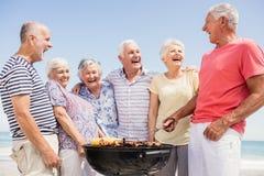 Amis supérieurs ayant un barbecue Images libres de droits