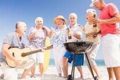 Amis supérieurs ayant un barbecue Image libre de droits