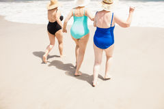 Amis supérieurs de femme courant dans l'eau Photo libre de droits