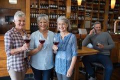 Amis supérieurs féminins ayant le vin rouge dans le restaurant Images libres de droits