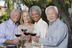 Amis supérieurs grillant le vin Photo stock