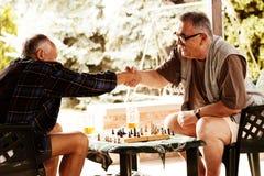 Amis supérieurs jouant des échecs Images libres de droits