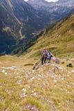 Amis sur la montagne Pirin Photographie stock libre de droits