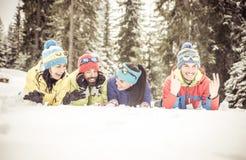 Amis sur la neige Images stock