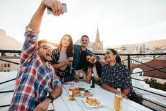 Amis sur la partie de dessus de toit prenant le selfie Images libres de droits