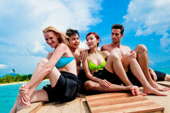 Amis sur le bateau Photographie stock libre de droits