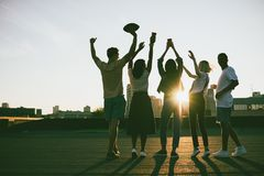 Amis sur le toit au coucher du soleil Photo libre de droits