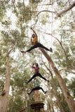 Amis sur le zipline en parc d'aventure Photo libre de droits