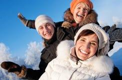 Amis sur un fond de l'hiver Photo libre de droits