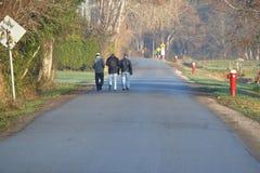 Amis sur une promenade de matin Photographie stock libre de droits