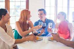 Amis tenant le verre de vin tout en ayant le repas Images libres de droits