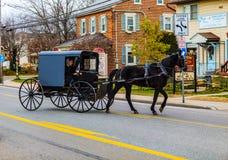 Amischer Buggy auf dem alten Philadelphia Pike stockfotografie