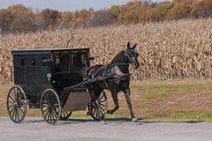 Amish barnvagn på en landsväg Arkivbilder