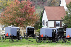 Amish buggies parked in the driveway Stock Images