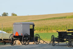 Amish buggies in Pennsylvania countryside royalty free stock photography