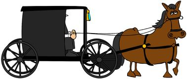 Amish Buggy. This illustration depicts an Amish buggy and driver being pulled by a brown horse vector illustration