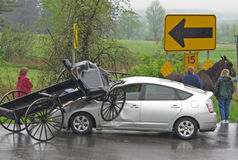 Amish buggy and car collision. On state highway in small upstate NY town, Glen, NY on a rainy afternoon Stock Images