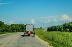 Amish Buggy on Country Road in Wisconsin Royalty Free Stock Photography