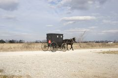 Amish buggy and countryside. An amish buggy in the countryside with a blue cloudy sky Royalty Free Stock Image