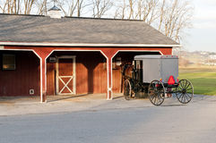 Amish buggy and shed Stock Photos