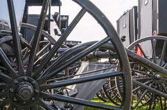 Amish buggy,spoked wheels. Close-up of the spoked wheels of Amish buggys Royalty Free Stock Image