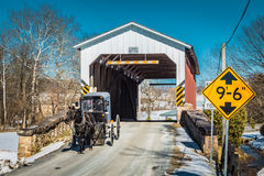 Amish buggy at the Weaver Mill Covered Bridge Stock Photography