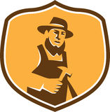 Amish Carpenter Holding Hammer Crest Retro Royalty Free Stock Photography