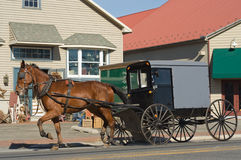 Amish Carriage. An Amish carriage traveling through a tourist town in Lancaster County,Pennsylvania Royalty Free Stock Images