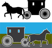 Amish Carriage. Old-fashioned vector illustration eps Royalty Free Stock Photos