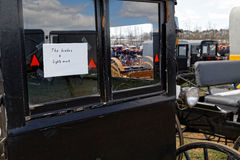Amish Carriage For Sale at Auction. GORDONVILLE PENNSYLVANIA - March 11, 2017: Amish carriages for sale at annual spring auction `Amish Mud Sale` to benefit the Royalty Free Stock Photos