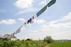 Amish clothesline. S filled with Amish clothing Stock Photo