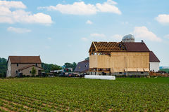 Amish construisant une grange Photo stock
