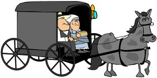 Amish Couple In A Buggy. This illustration depicts an Amish couple riding in a buggy pulled by a gray horse royalty free illustration