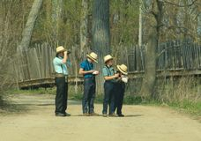 Amish Family. This Amish Family was Birding at Presque Isle State Park, Erie Pennsylvania Royalty Free Stock Photos