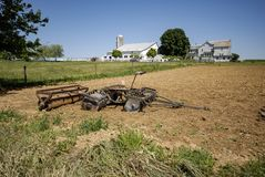 Amish Farm Equipment in Field stock photos