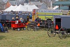 Amish gyttja Sale i Lancaster County Arkivbild