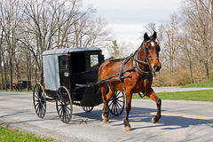 Amish Horse and Carriage. An Amish horse and carriage travels on a rural road in Lancaster County, Pennsylvania, USA stock images