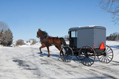 Amish Horse and Carriage. An Amish Carriage travels in snow covered Lancaster County,Pennsylvania ,USA Royalty Free Stock Photos