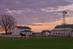 Amish house with windmill and horse. Early morning in amish county showing amish house with windmill and horse Royalty Free Stock Photo