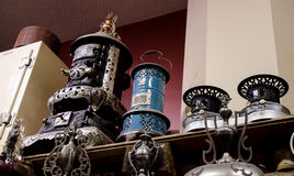 Amish kerosene heaters and wood stove. Royalty Free Stock Photography