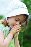 Amish or Mennonite Child Praying Stock Images