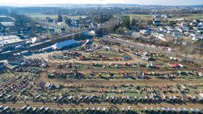 Amish Mud Sale in Lancaster, PA USA 4 by Drone royalty free stock image
