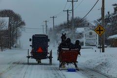 Amish powozik i sanie obraz stock