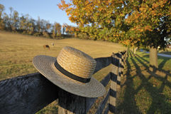 Amish Straw Hat in Pennsylvania Fall Royalty Free Stock Images