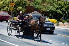 Amish vagn Arkivbilder